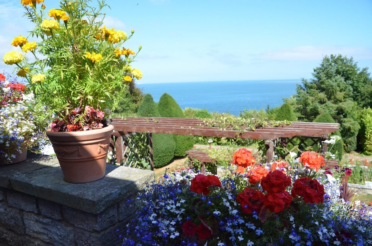 Views Across the Gardens to the Sea at Luccombe Hall Hotel, Isle of Wight