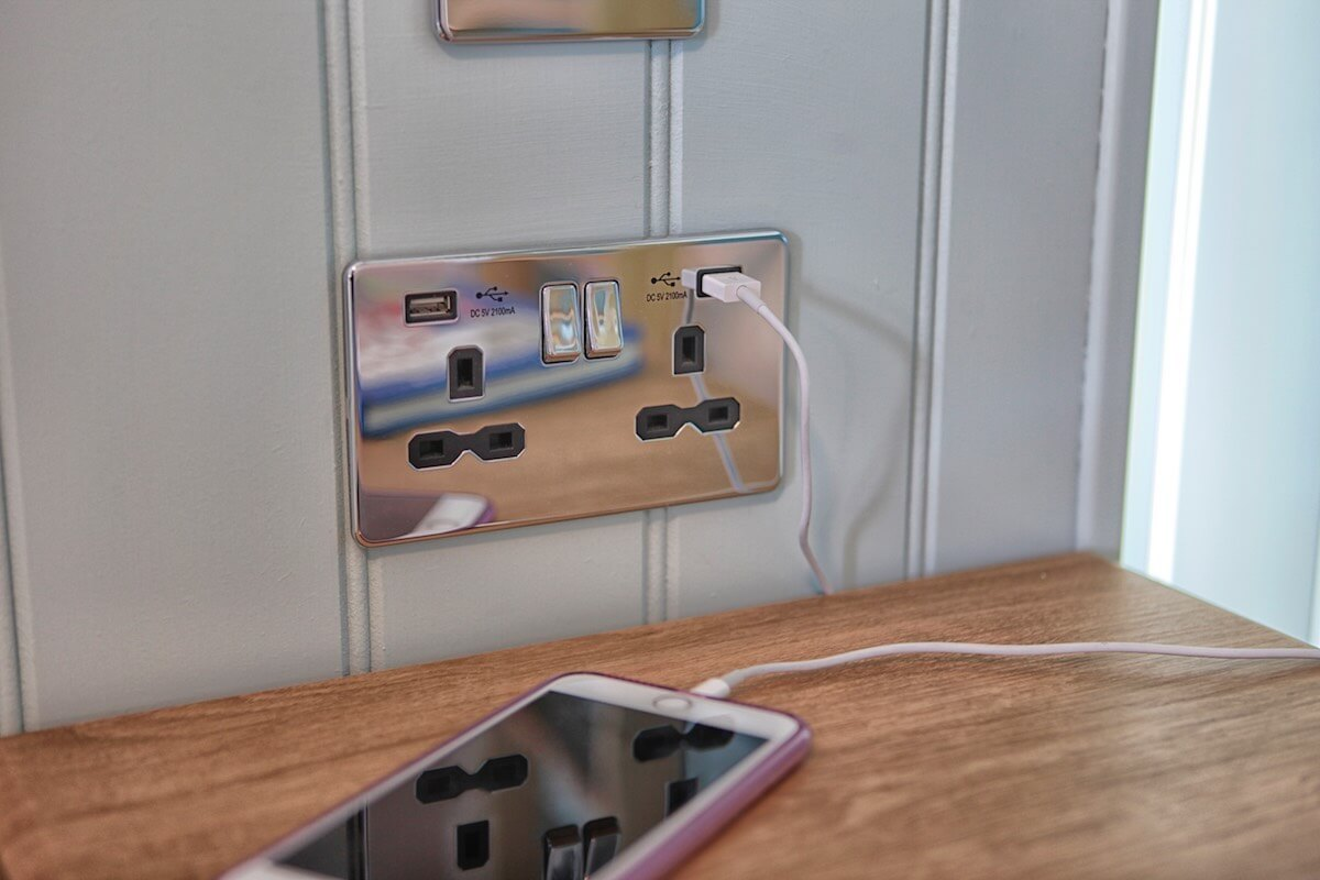 Electrical Points & USB Charging Conveniently Located by the Beds & Dresser, in Superior Sea-Facing Rooms, Luccombe Hall Hotel