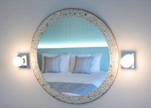 Handmade Sea Glass Mirrors in the Superior Sea-Facing Rooms, Luccombe Hall Hotel, Isle of Wight