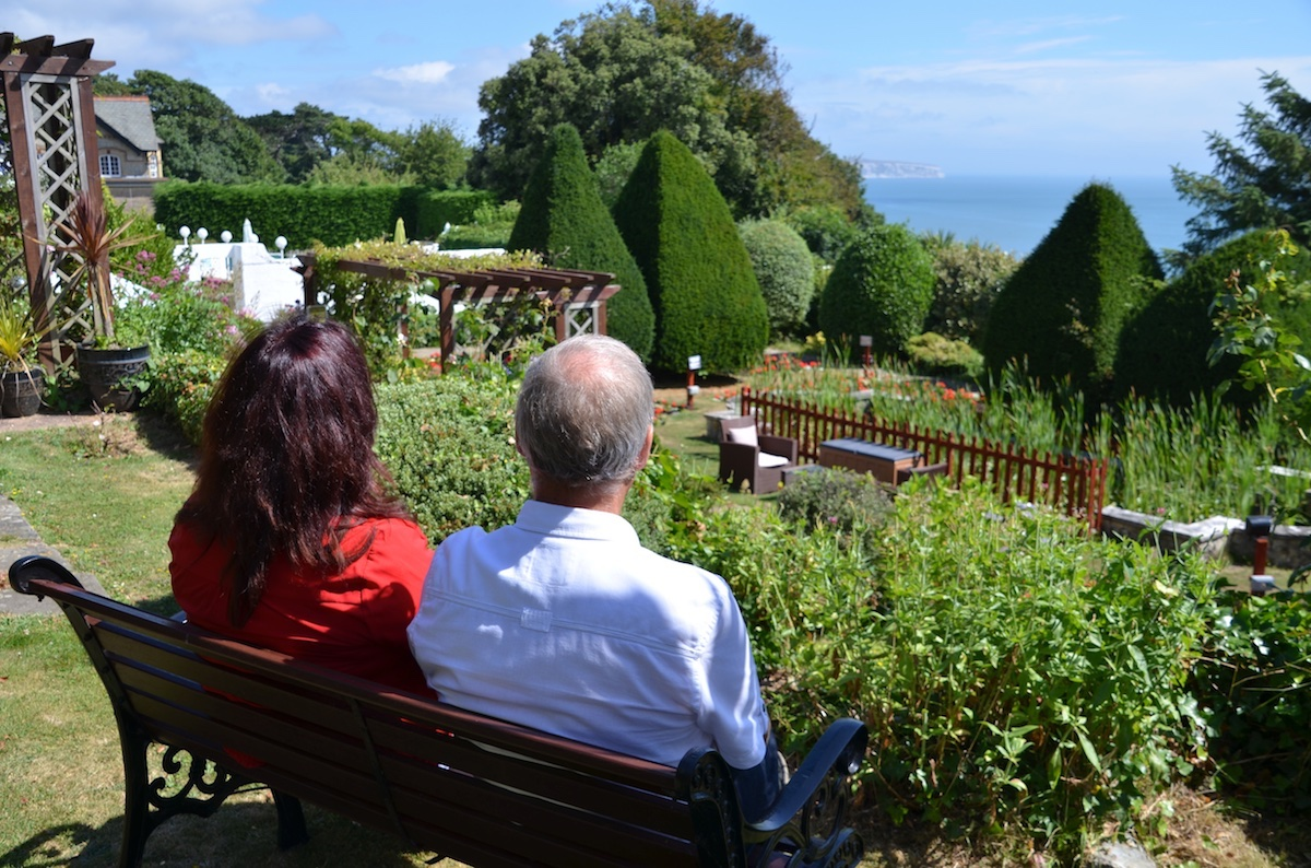 Enjoying the Garden & Sea Views, Luccombe Hall Hotel, Isle of Wight