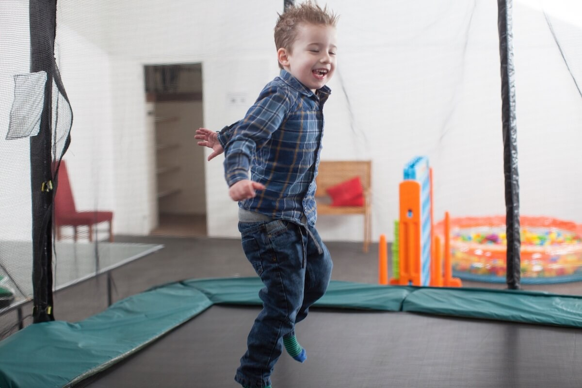 Indoor Trampoline Fun, Luccombe Hall Hotel, Isle of Wight