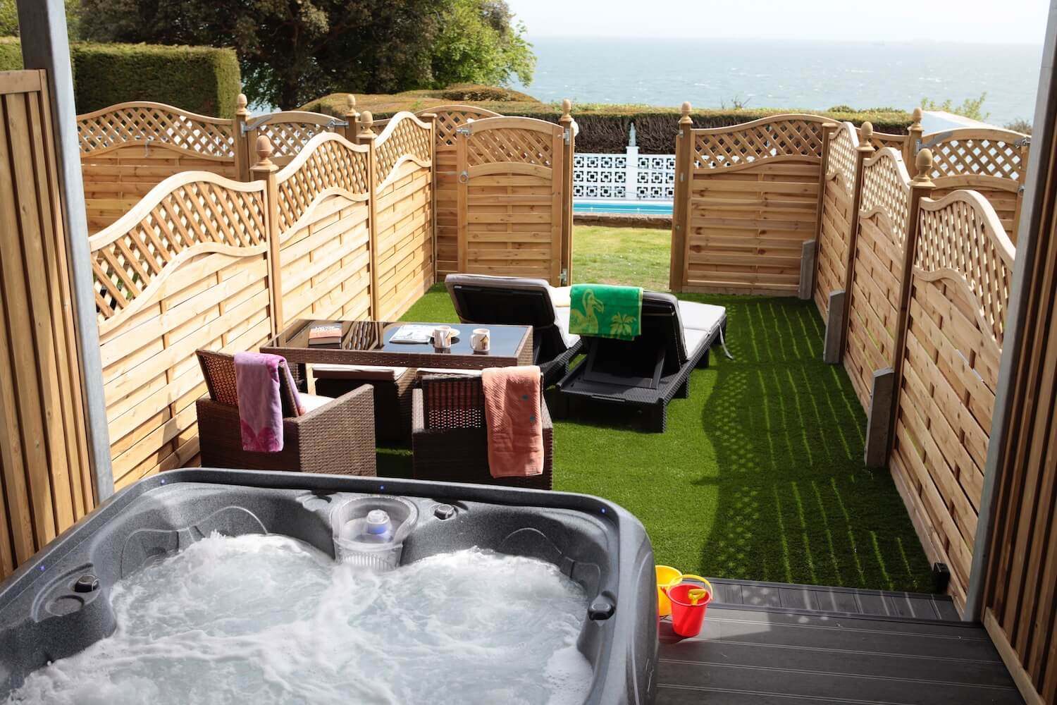Superior Garden Room with Private Garden, Patio & Hot Tub, Luccombe Hall Hotel, SHanklin, Isle of Wght