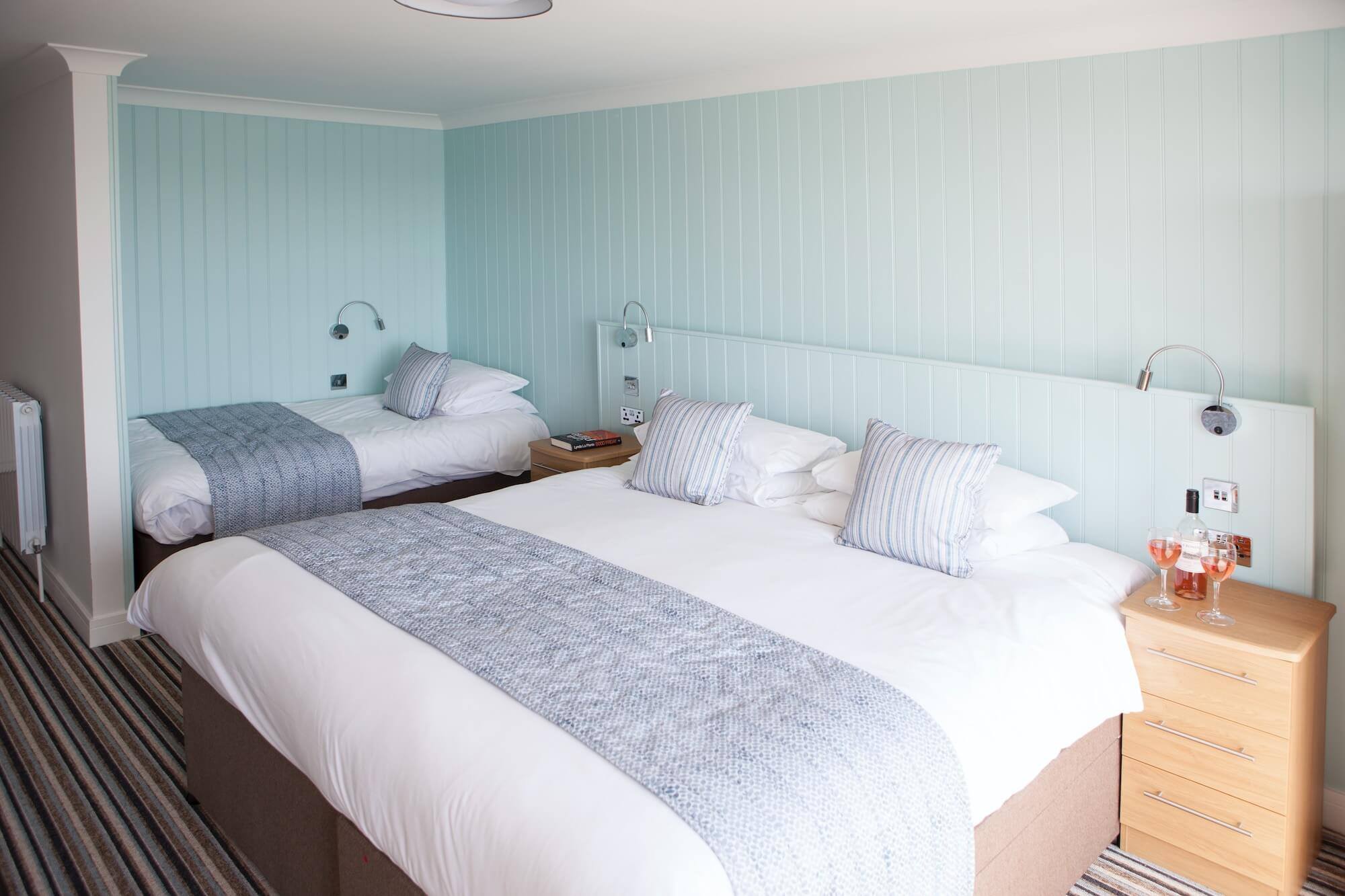 Superior Sea-Facing Balcony Room with Additional Single Bed, Luccombe Hall Hotel, Isle of Wight